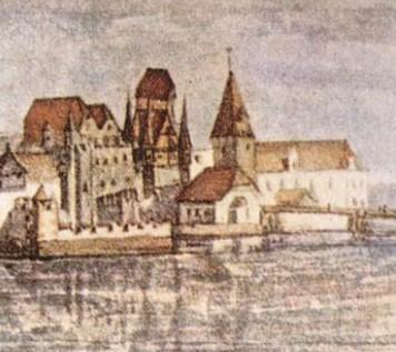 Ansicht Innsbrucks; Albrecht Dürer 1495: Ausschnitt Innsbrucker Burg